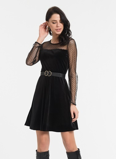 Styletag Tüllü Kadife Elbise Siyah